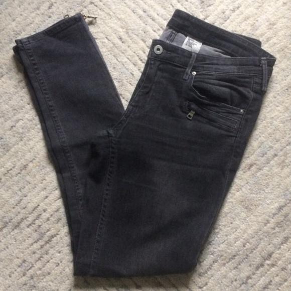 H&M | Moto Skinny Low Waist Ankle Jeans 30